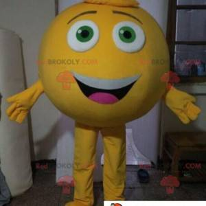 Maskotka duży okrągły żółty mężczyzna. Gigantyczna buźka -