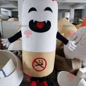 Giant cigarette mascot with a prohibition sign - Redbrokoly.com