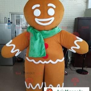 Maskottchen Ti Biscuit Charakter Shrek mit einem Schal -