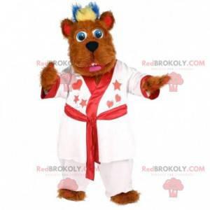 Chlupatý hnědý psí maskot s bílým županem - Redbrokoly.com