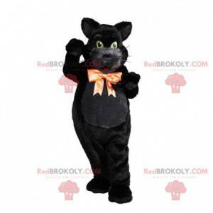 Silky black cat mascot with a pretty bow around the neck -