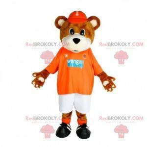 Hnědý a bílý medvěd maskot ve sportovním oblečení -