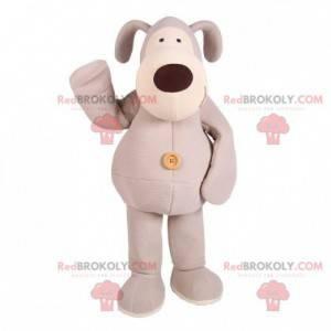 Gray and white plush dog mascot - Redbrokoly.com