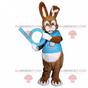 Brown and white rabbit mascot with a blue outfit -