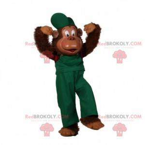 Owłosiona małpa maskotka ubrana w zielony strój - Redbrokoly.com