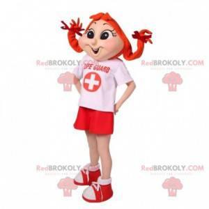 Rusovlasá dívka maskot s přikrývkami - Redbrokoly.com
