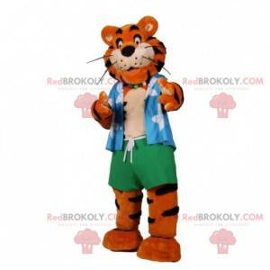 Orange and black tiger mascot dressed as a vacationer -