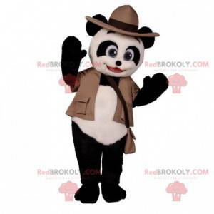 Black and white panda mascot in adventurer outfit -