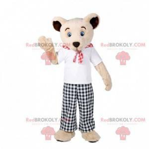 Béžový maskot medvídka s kostkovaným oblečením - Redbrokoly.com