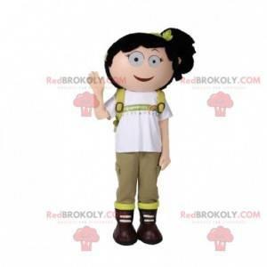 Mascot girl with a backpack. Hiker mascot - Redbrokoly.com