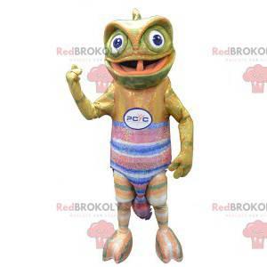 Kameleonmascotte met een kleurrijke trui - Redbrokoly.com