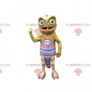 Mascote camaleão com uma camisa colorida - Redbrokoly.com