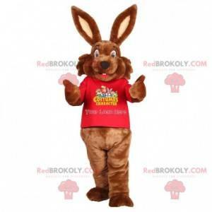 Mascotte de lapin marron doux et mignon. Costume de lapin -