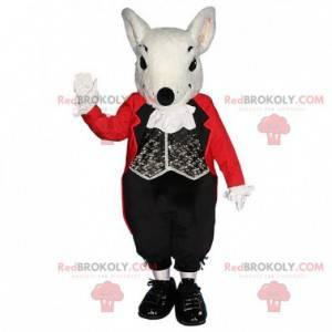 Maskot bílé krysy s elegantním černo-červeným kostýmem -