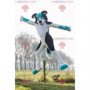 Černá a modrá bílá psí maskot - Redbrokoly.com