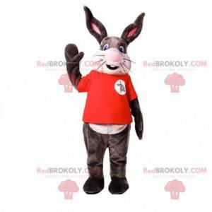 Veldig smilende grå og hvit kaninmaskot - Redbrokoly.com