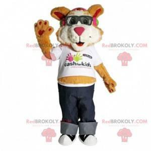 Brun og hvit kattemaskot med briller - Redbrokoly.com