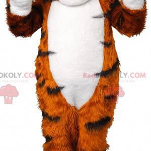 Měkký a chlupatý černobílý oranžový tygr maskot - Redbrokoly.com