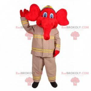 Maskottchen des roten Elefanten im Feuerwehr-Outfit -