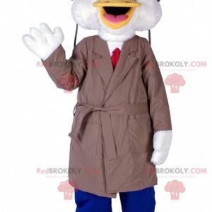 Kachní maskot s dlouhým kabátem a kravatou - Redbrokoly.com
