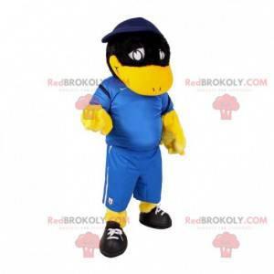 Schwarzes und gelbes Entenvogelmaskottchen in Sportbekleidung -