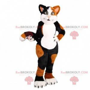 Měkký a roztomilý maskot černé a hnědé bílé kočky -