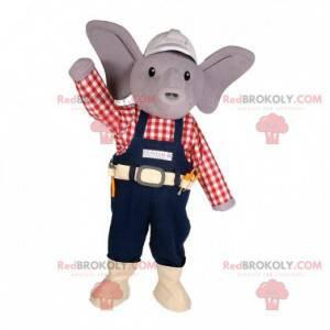 Šedý slon maskot pracovník oblečení - Redbrokoly.com