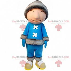 Eskimo mascot with a blue outfit and a large cap -