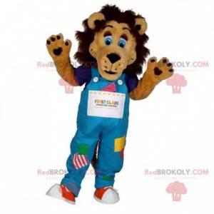 Brun løve maskot med fargerike kjeledresser - Redbrokoly.com