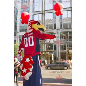 Proud red and white eagle mascot in blue and red outfit -