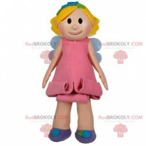 Blond fejenta maskot med en rosa kjole - Redbrokoly.com