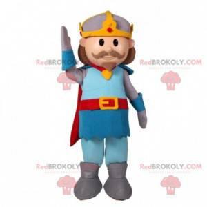Prinz Schnurrbart Ritter Maskottchen mit einem Umhang -