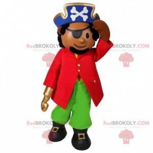 Kapitan pirat maskotka z kapeluszem i opaską na oko -