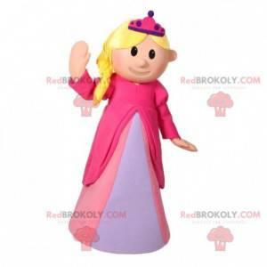 Maskot blonďatá princezna oblečená v růžových šatech -