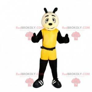 Gigantyczna żółto-czarna maskotka pszczoły. Maskotka owadów -