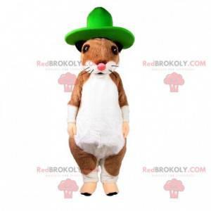 Hnědý a bílý maskot krysy hlodavců se zeleným kloboukem -