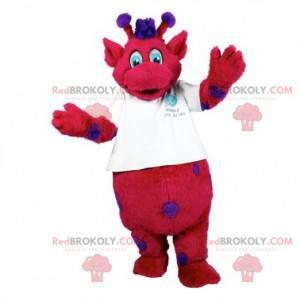 Rotes und lila Monstermaskottchen mit Antennen - Redbrokoly.com