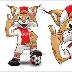 Hnědý a bílý rys maskot s sportovní oblečení - Redbrokoly.com