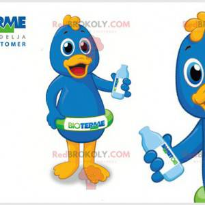 Blue and yellow duck mascot with a buoy - Redbrokoly.com
