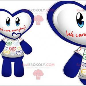 Modré a bílé maskot sněhuláka s hlavou ve tvaru srdce -