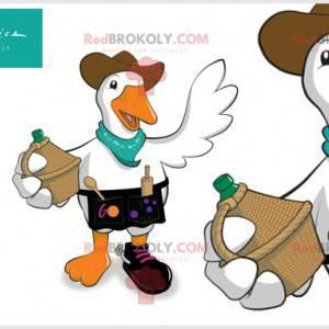 Maskot kachní husy s kloboukem a nádobím - Redbrokoly.com