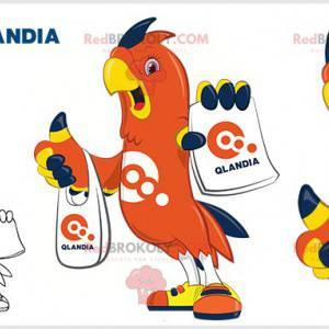 Orange blaues und gelbes Vogelpapageienmaskottchen -