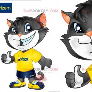 Graues und weißes Katzenmaskottchen in Sportbekleidung -