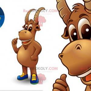 Maskot hnědého kozího kamzíka s rohy - Redbrokoly.com