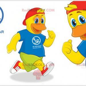 Maskot žluté kachny kuřátko s barevným oblečením -
