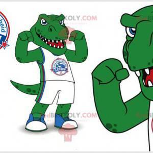 Ostra i onieśmielająca zielona maskotka dinozaura -