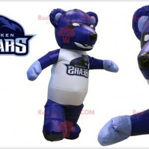 Obří černý a bílý modrý medvěd maskot - Redbrokoly.com