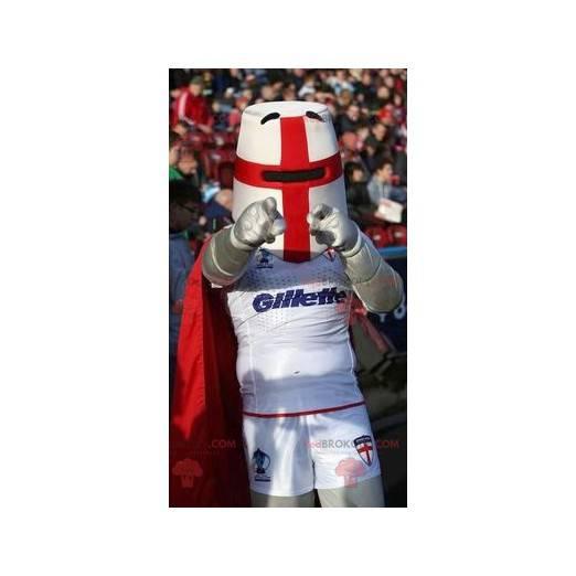 Rytíř maskot s přilbou a červenou pláštěnku - Redbrokoly.com
