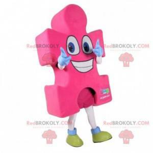 Obří růžové kousek skládačky maskot. Puzzle kostým -