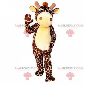 Mascote gigante girafa marrom e amarela - Redbrokoly.com